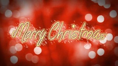 Merry Christmas, creative congratulation message on romantic red background Stock Footage