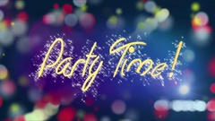 Colorful background with Party Time message, birthday, anniversary celebration Stock Footage