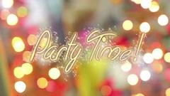 Party Time message on shiny colorful background, celebration theme, postcard Stock Footage