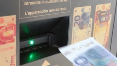 Insertion of a euro banknote Stock Footage