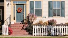 Autumn wreath on the front door. Stock Footage