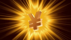 Yen sign on radiant light background, success, large income, jackpot winner Stock Footage