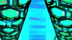 Hexxa visuals tunnel of hexa shapes rotating and moving sideways flash o t beat Stock Footage