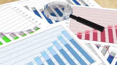 Various financial charts on table, business planning, data analysis, research Stock Footage