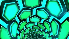 Hexxa visuals tunnel of hexagonal shapes rottating flashing on the beat Stock Footage