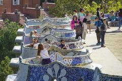 Typical Gaudi style mosaic benches at Park Guell in Barcelona Stock Photos