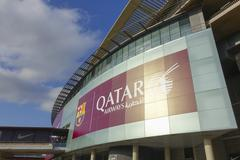 Quatar Airways advertising at Camp Nou in Barcelona Stock Photos