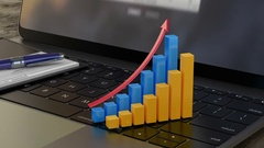 Growing 3D financial graph on laptop keyboard, financial statistics, analytics Stock Footage