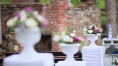 Flowers for wedding ceremony, wedding arch background Stock Footage