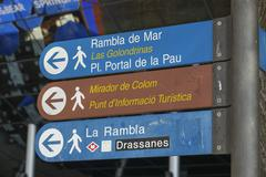 Direction signs at Port Vell in Barcelona Stock Photos