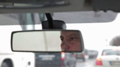Car rear-view mirror, the reflection Stock Footage