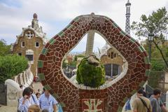 Wonderful art at Park Guell in Barcelona Stock Photos