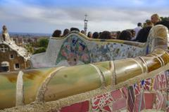 The amazing mosaic benches at Park Guell in Barcelona Stock Photos