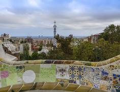 Amazing architecture at Park Guell Barcelona Stock Photos
