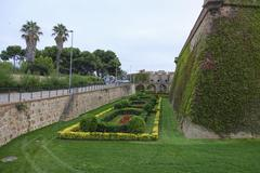 Castle on Montjuic in Barcelona Stock Photos