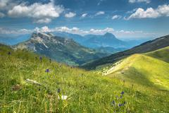 Pyrenees mountains landscape in summer. Huesca, Agaron Stock Photos