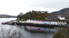 The famous Portree Harbour Stock Footage