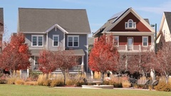 Row of urban houses facing park. Stock Footage