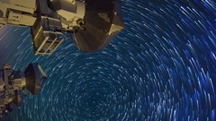 Astro Timelapse of Star Trails over Array of Radio Observatories -Vertical- Stock Footage