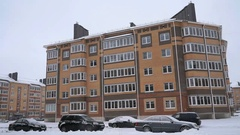 Multi-storey apartment residential building Stock Footage