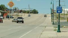 Santa Rosa NM Blue Hole Sign Stock Footage