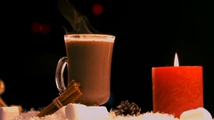 Christmas decorations and coffee on snow Stock Footage