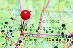 North Adams pinned on a map of Massachusetts, USA Stock Photos