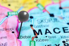 Debar pinned on a map of Macedonia Stock Photos