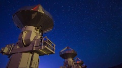 Astro Timelapse of Starry Sky over Array of Radio Observatories -Zoom Out- Stock Footage