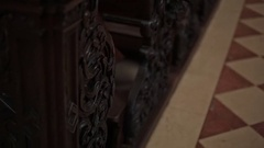 Temple furniture. Woodcarving Stock Footage