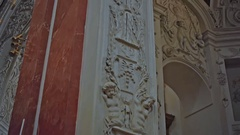 Stucco on the walls of the temple Stock Footage