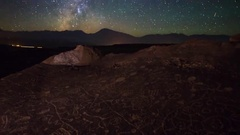 Astro Timelapse of Milky Way over Native American Petroglyphs -Zoom Out- Stock Footage