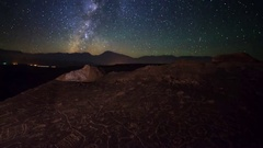 Astro Timelapse of Milky Way over Native American Petroglyphs -Pan Left- Stock Footage