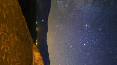 Astro Timelapse of Galaxy & Native American Petroglyphs -Vertical- Stock Footage