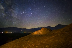 5K Astro Timelapse of Galaxy & Native American Petroglyphs  Stock Footage