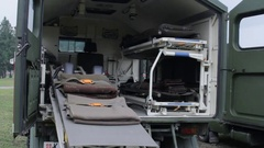 The interior of military ambulance vehicle Stock Footage