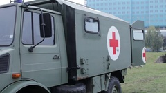 Open military ambulance vehicle Stock Footage