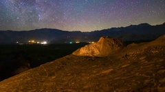 MoCo Tracking Astro Timelapse of Milky Way over Indian Petroglyphs -Long Crop- Stock Footage