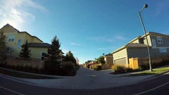 POV point of view - Drive through residential neighborhood decorated for Hallowe Stock Footage
