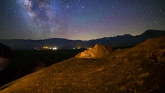 MoCo Tracking Astro Timelapse of Milky Way over Indian Petroglyphs  Stock Footage