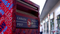 Motion of canadian mail box with blured people shopping concept Stock Footage