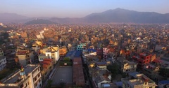 Aerial view of Thamel, a neighborhood in Kathmandu, Nepal. Flying backwards. Stock Footage