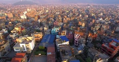 Aerial view of Thamel, a commercial neighborhood in Kathmandu, capital of Nepal Stock Footage
