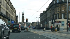 Inverness cityscape with bus, taxi around Stock Footage
