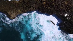 Water blow Nusa Dua top aerial view. Epic waves and splashes. Stock Footage
