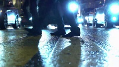 Depression and bad mood in snowy slushy rainy evening at crossroads. Concepts Stock Footage