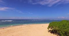 Nusa Dua beach. Surfers, tourists. Aerial view. Bali indonesia Stock Footage