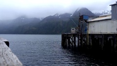 Old Fish Wharf and Ice Dock in Pelican Alaska on a Misty Day HD Stock Footage