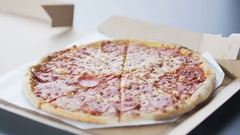 Taking Pizza Pieces Stock Footage
