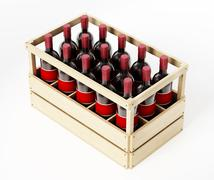 Wooden crate of red wine isolated on white background. 3D illustration Stock Illustration